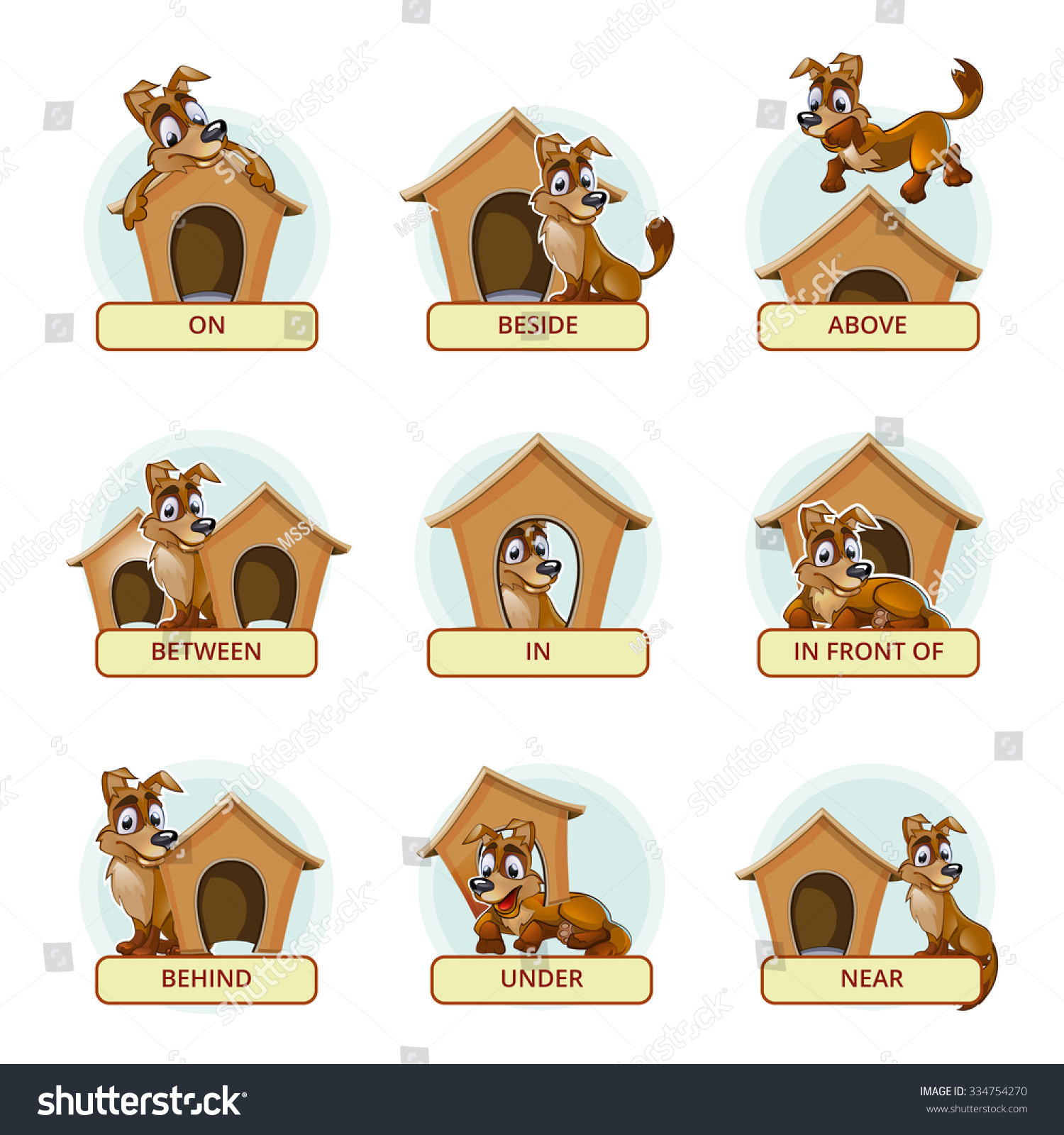 Cartoon Dog Different Poses Illustrate English Stock