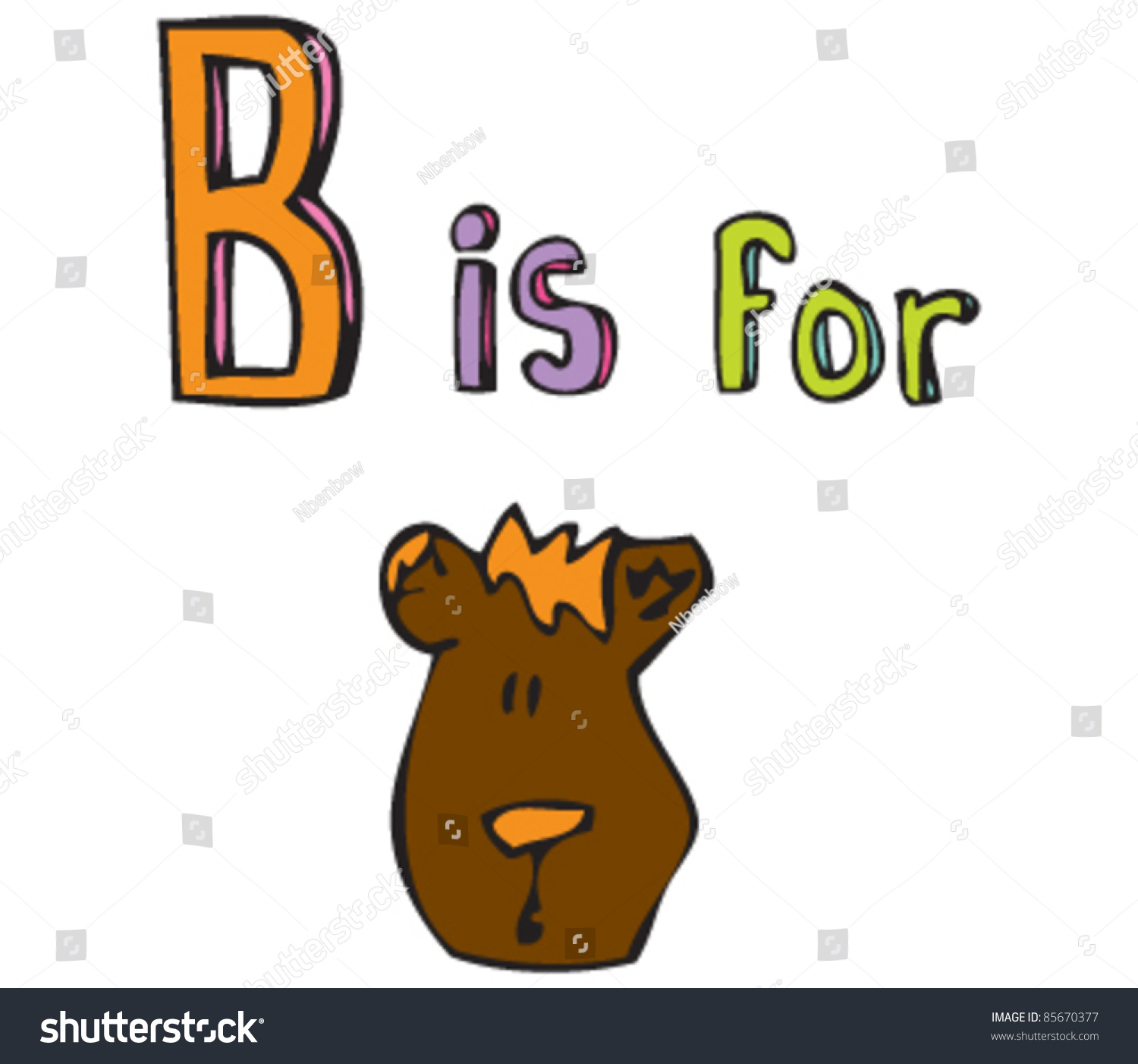 Cartoon Drawing Of Letter B Is For Bear Stock Vector