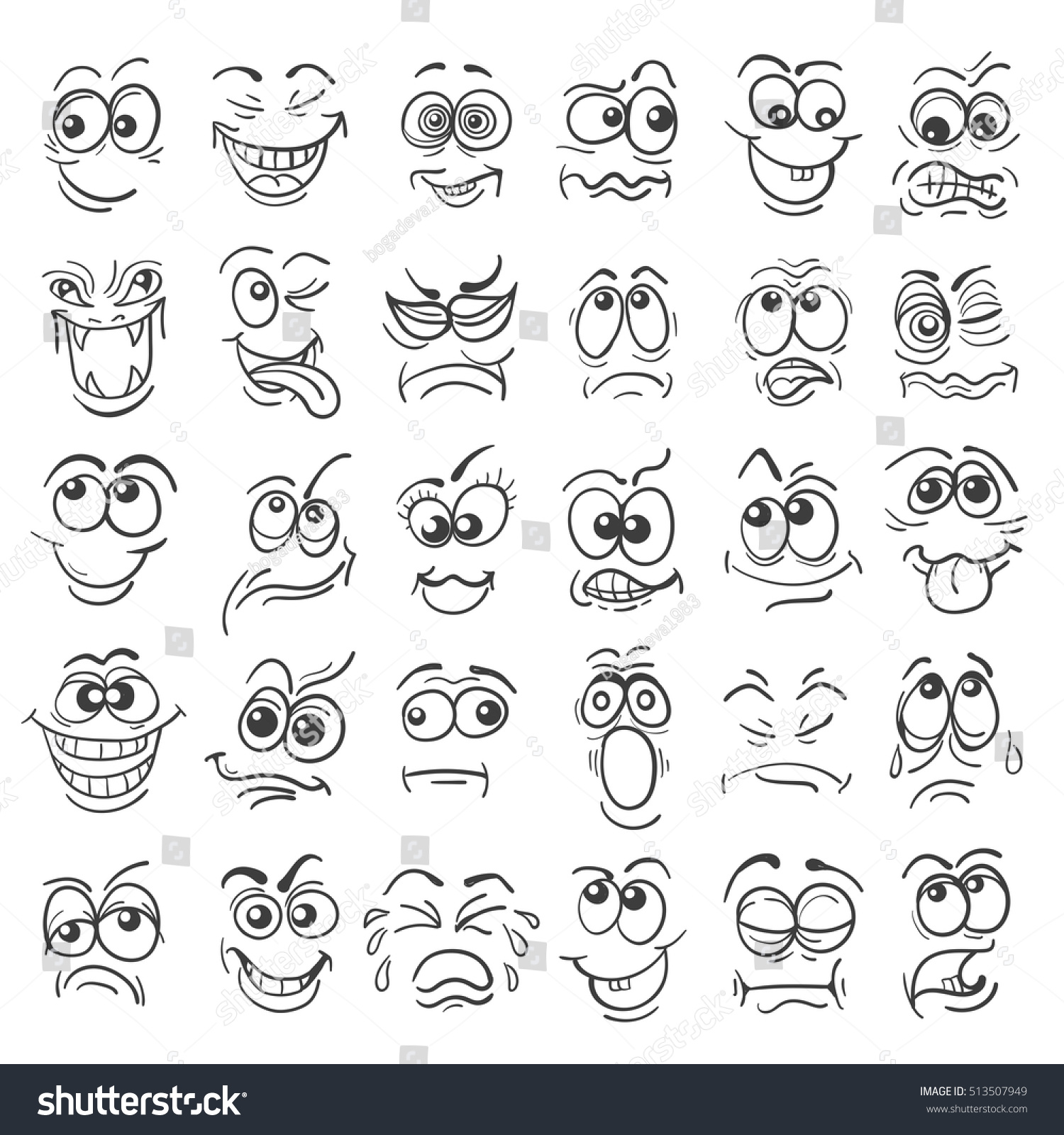 Cartoon Face Emotion Set Various Facial Stock Vector