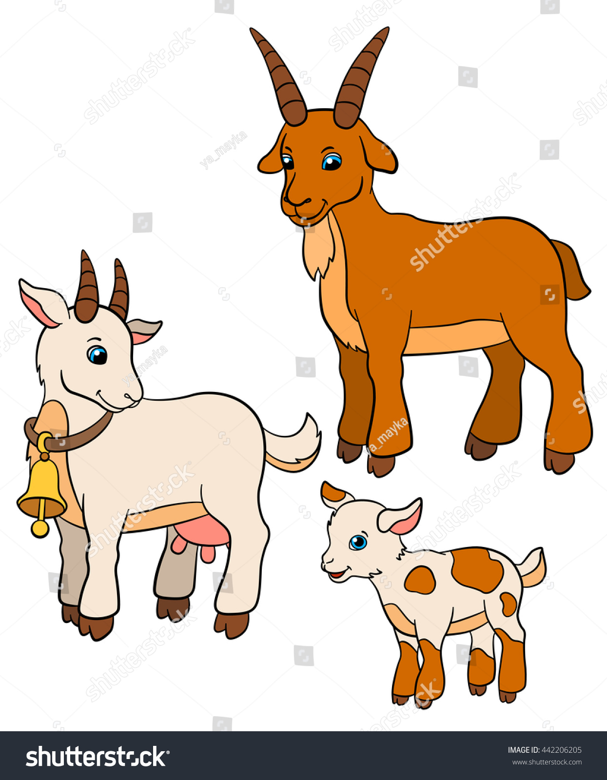 Cartoon Farm Animals For Kids Goat Family Father Mother