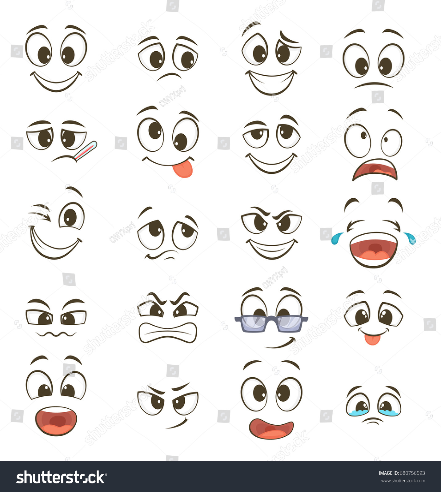 Cartoon Happy Faces Different Expressions Vector Stock