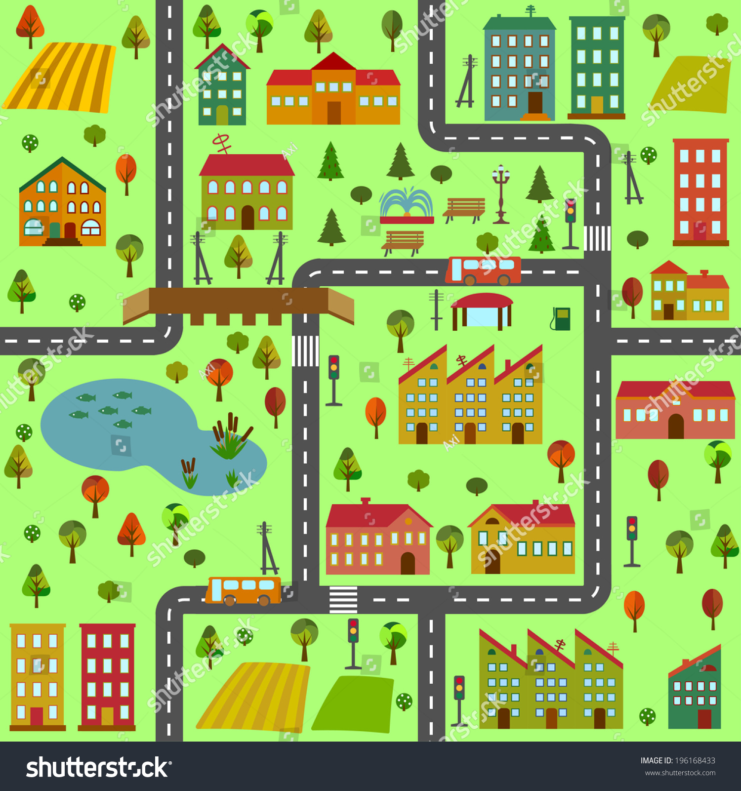 Cartoon Illustration Map City Different Houses Stock
