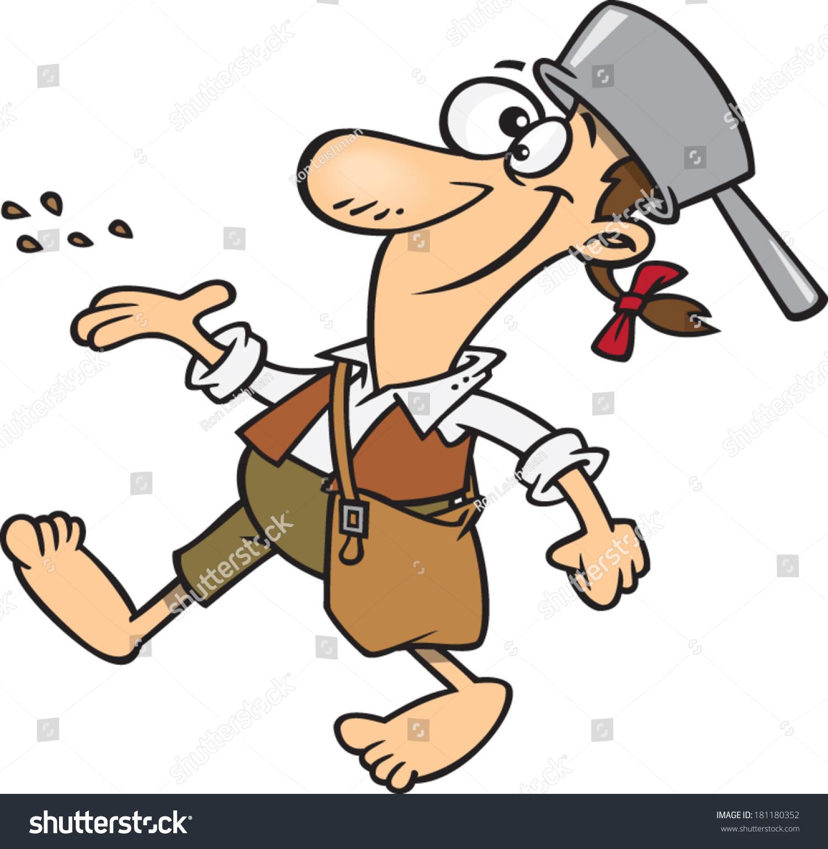 Cartoon Johnny Appleseed Walking Stock Vector