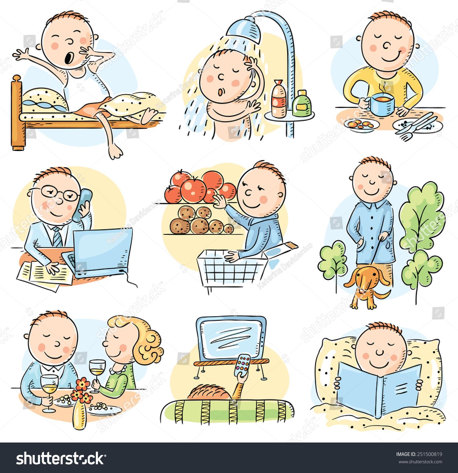 Cartoon Man Daily Routine Activities Set Stock Vector