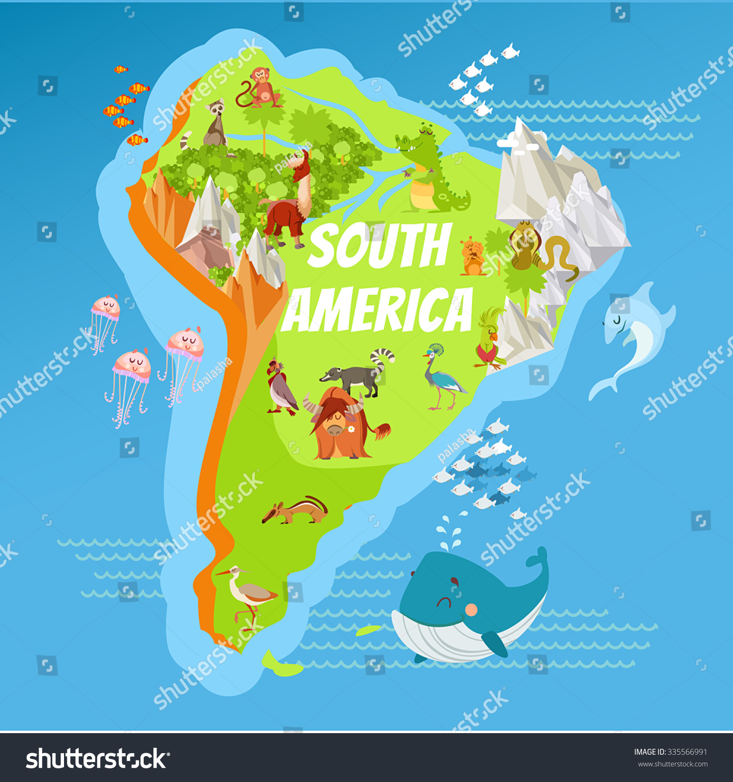 Cartoon Map South America Continent Riversmountains
