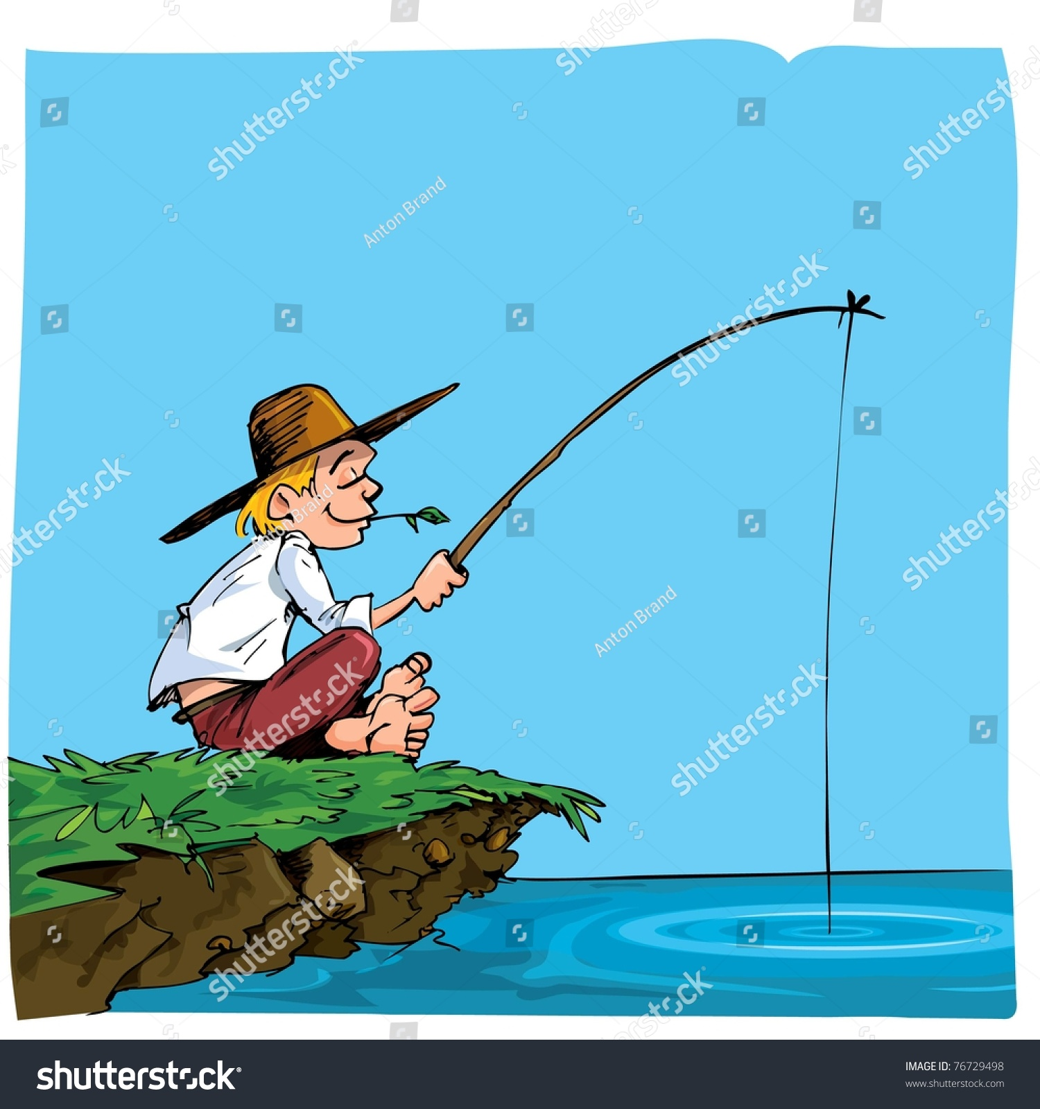 Download After three (3) hours struggling at sea the men were rescued by a fishing boat from st. Cartoon Of A Boy Fishing. He Is On A Riverbank Stock 1svg.com