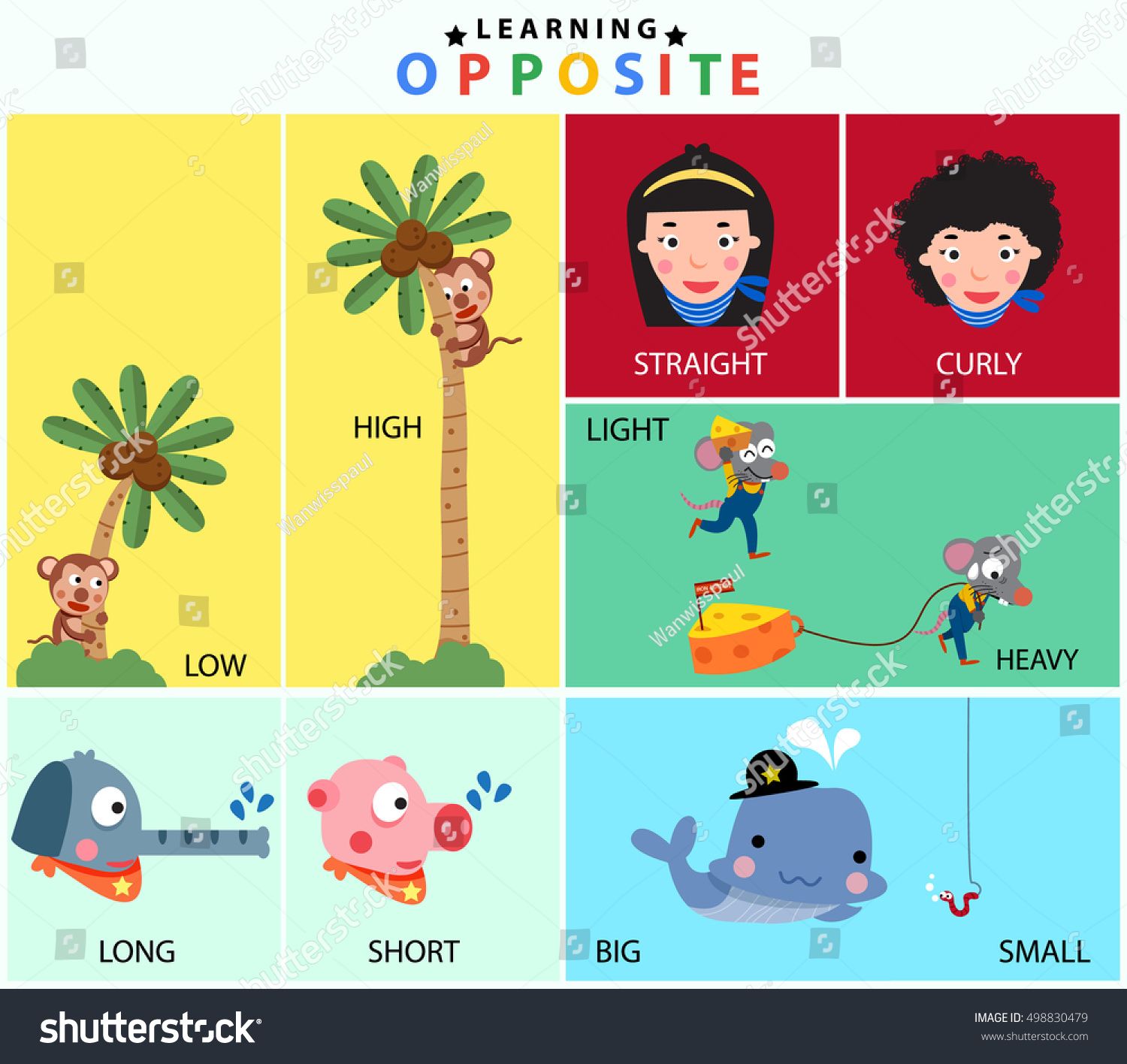 Cartoon Opposite Vocabulary Set Low High Stock Vector