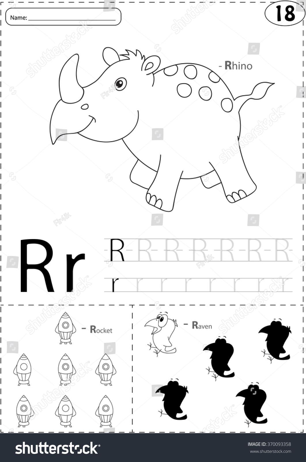 Cartoon Rhino Rocket Raven Alphabet Tracing Stock Vector