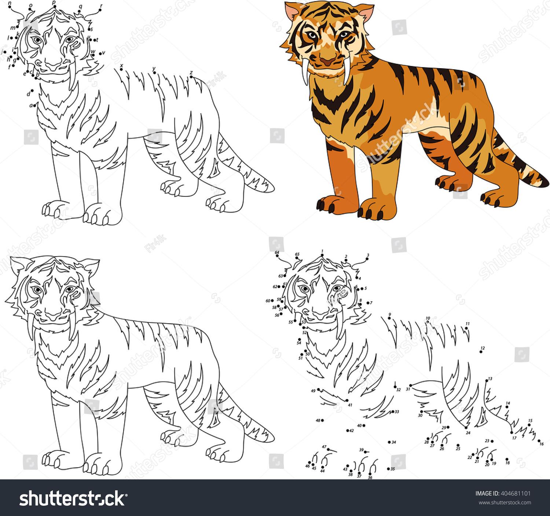 Cartoon Sabertoothed Tiger Coloring Book Dot Stock Vector