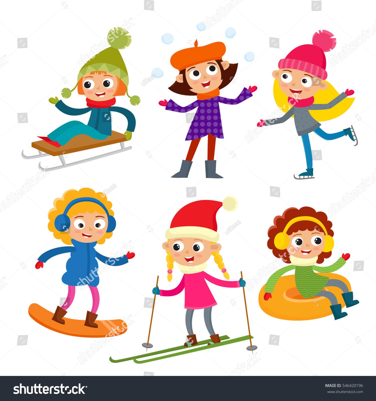 Cartoon Teen Aged Girls Winter Clothes Stock Vector