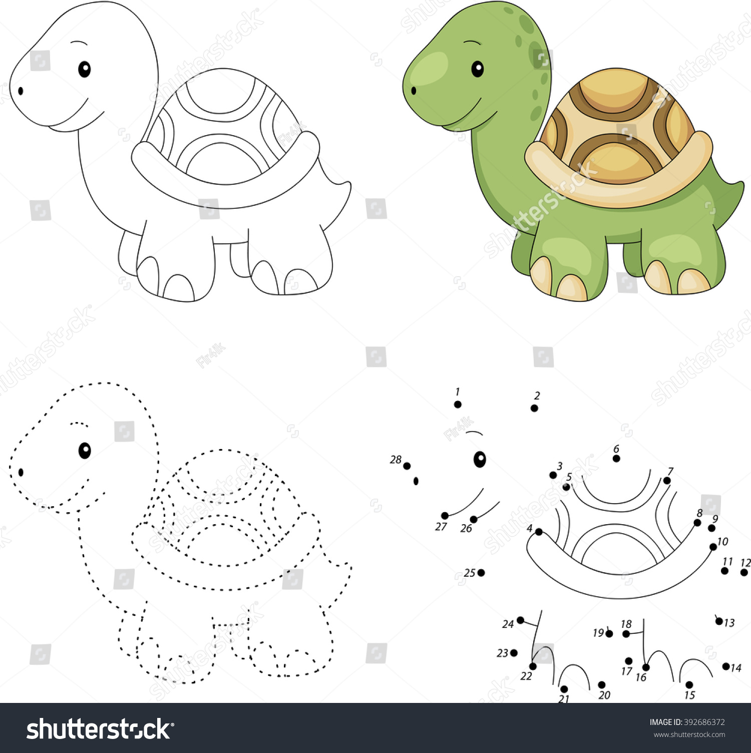 Cartoon Turtle Dot Dot Educational Game Stock Vector