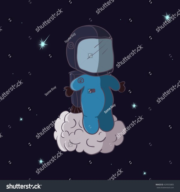 Cartooning Astronaut With Jetpack In The Space. Stock ...