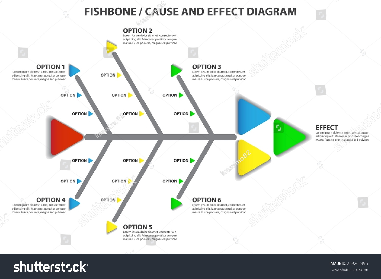 Cause Effect Fishbone Diagram Vector Infographic Stock