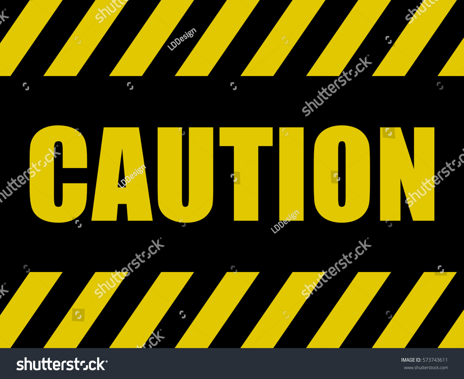 Caution Sign Background Black Yellow Board Stock Vector