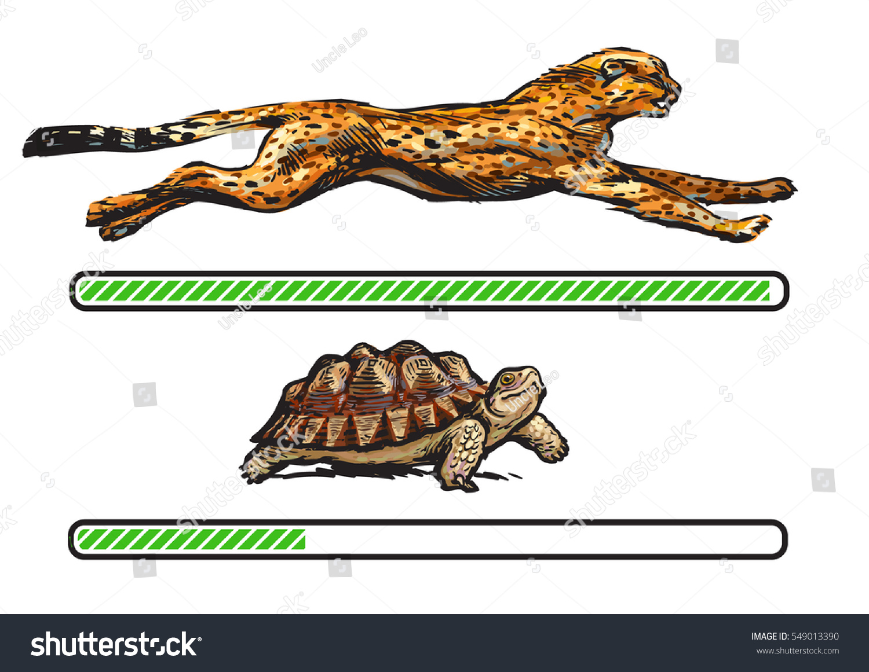 Cheetah Turtle Fast Slow Loading Bar Stock Vector