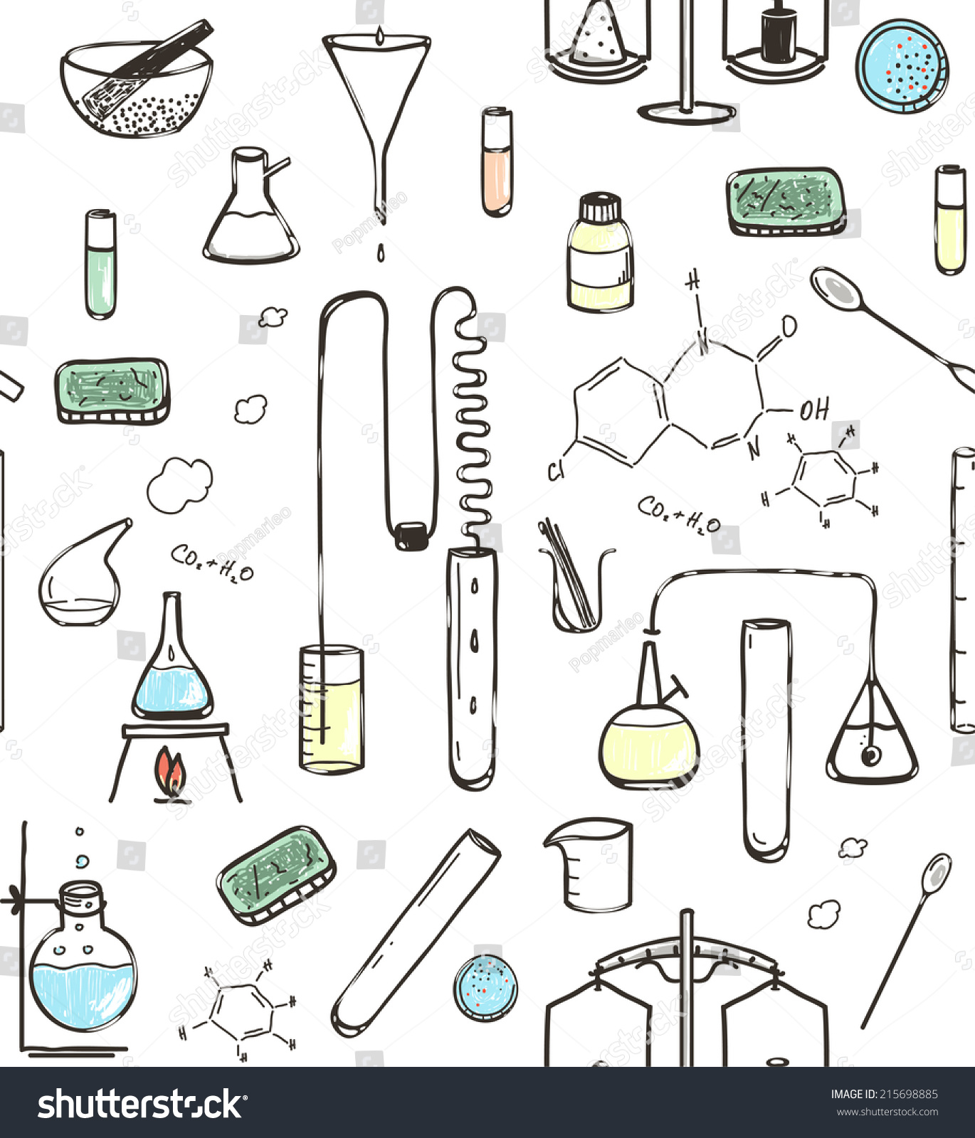 Chemical Laboratory Seamless Pattern Hand Drawn Stock