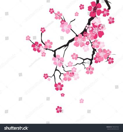 花の背景に桜の花、ピンクの枝に平らなベクターイラスト