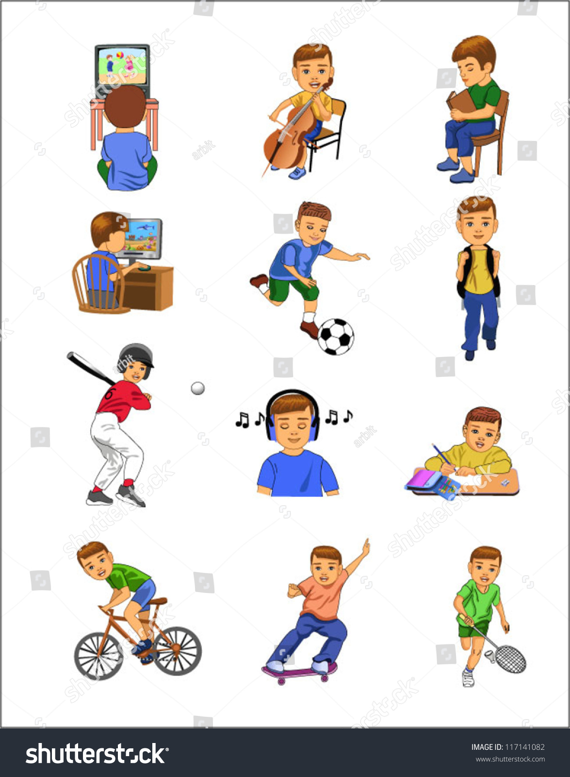 Child Doing Different Activities Stock Vector