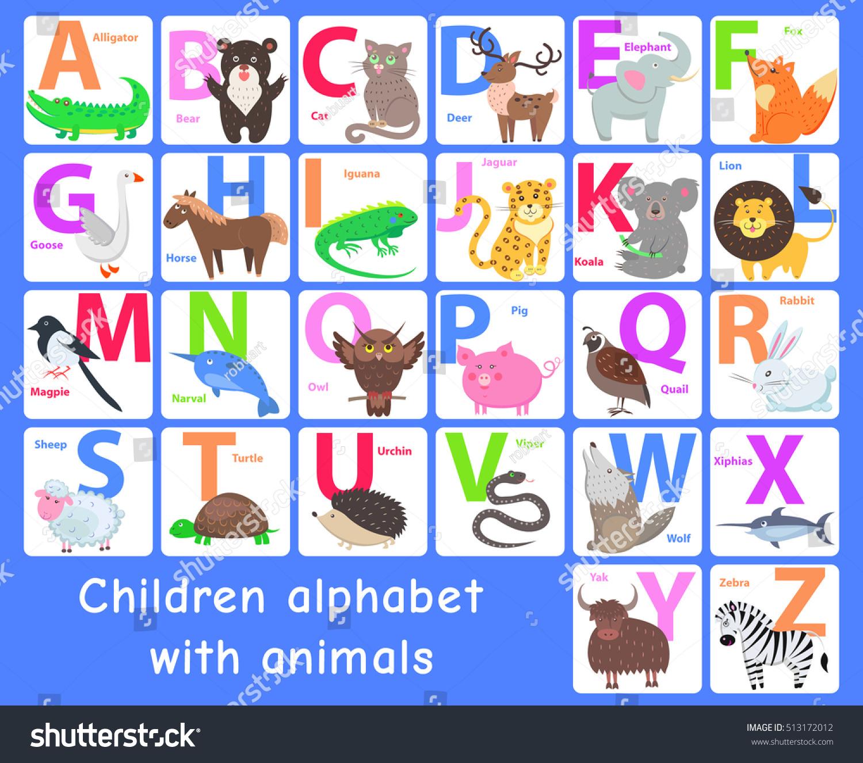 Children Alphabet Animals Letters A B Stock Vector