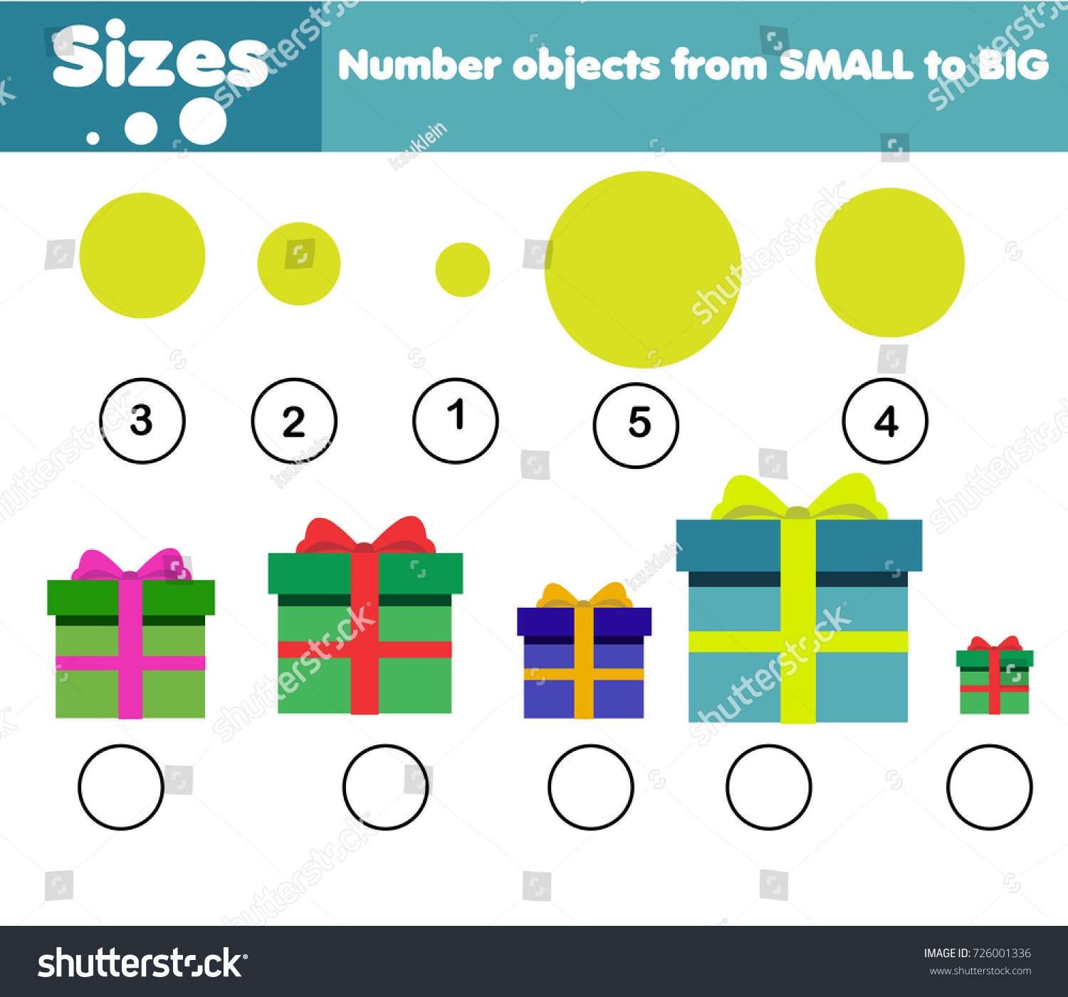 Children Educational Game Learning Sizes Big Stock Vector