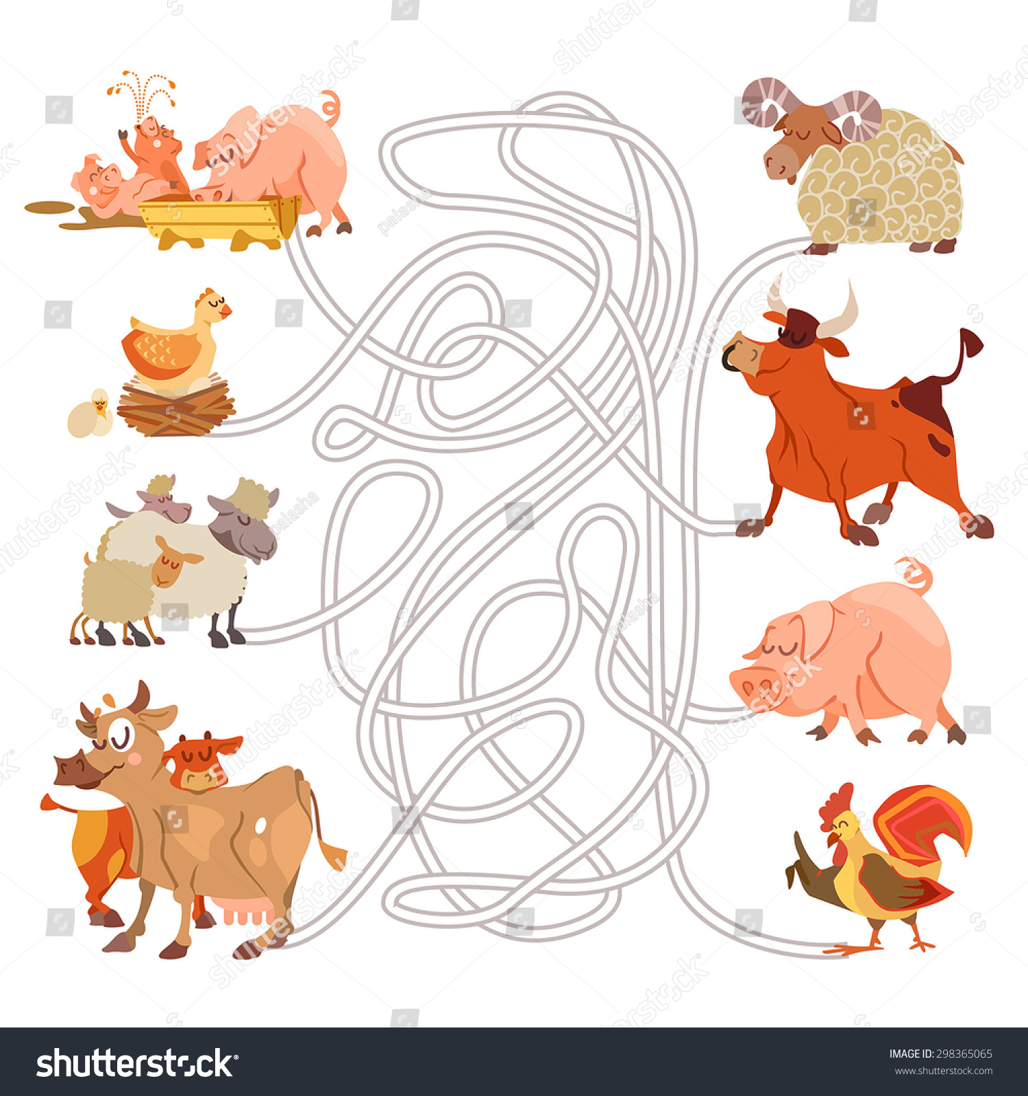 Children Game With Cartoon Farm Animals Help The Families