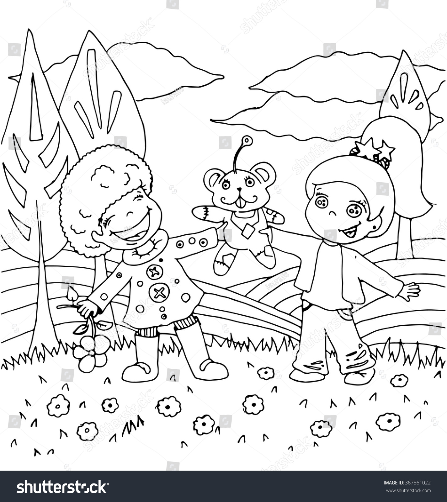 Children Playing Nature Toys Cartoon Hand Stock Vector