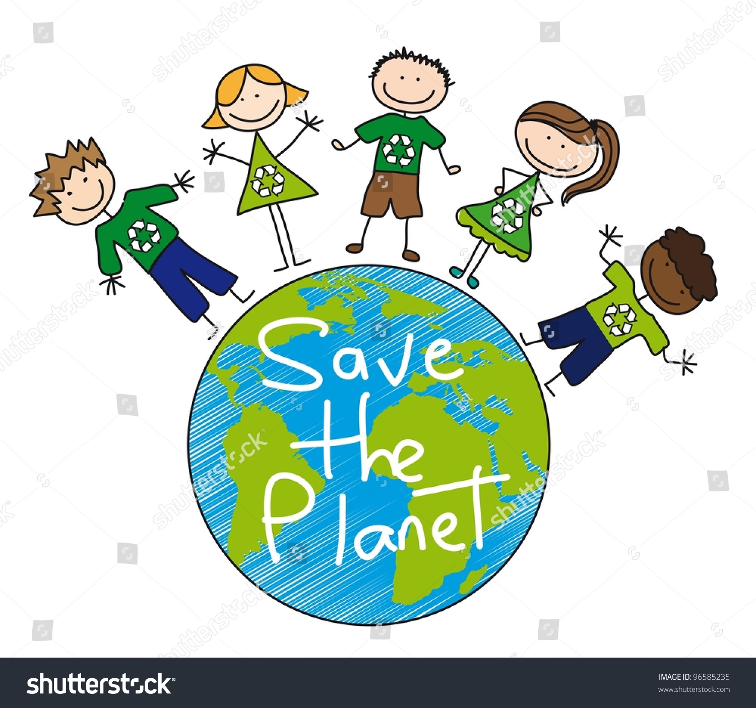 Over Planet Over White Background Recyclevector Stock
