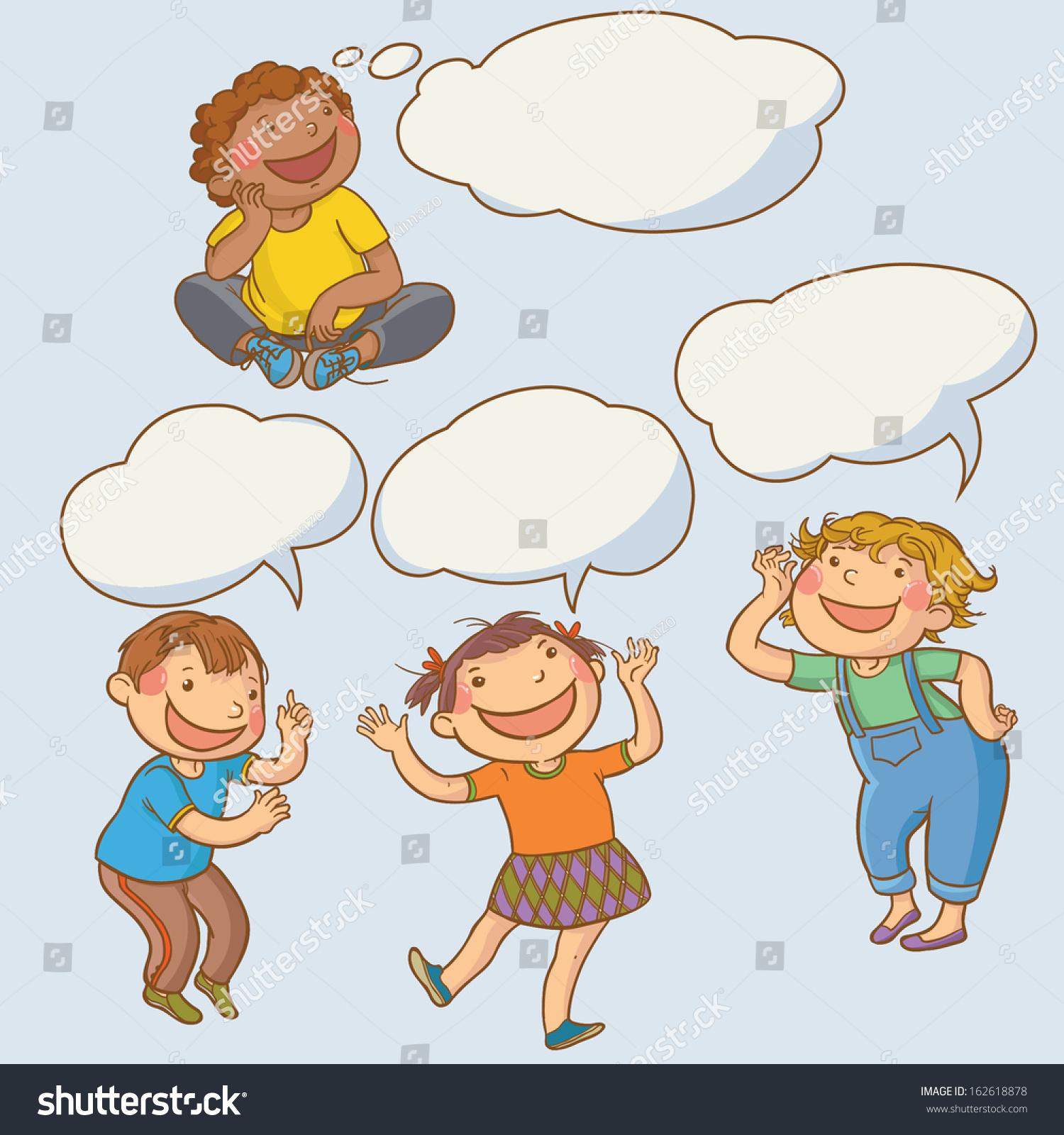 Children Talking Speech Bubble Back School Stock Vector