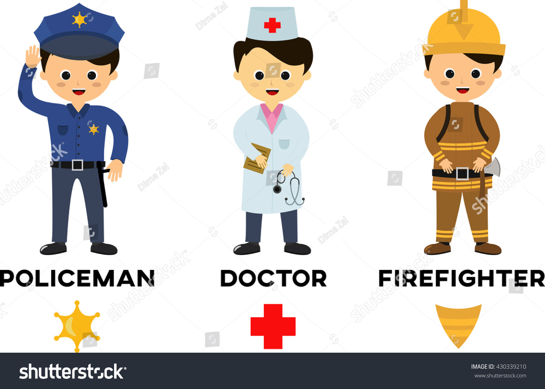 Children Three Important Jobs People Firefighter Stock