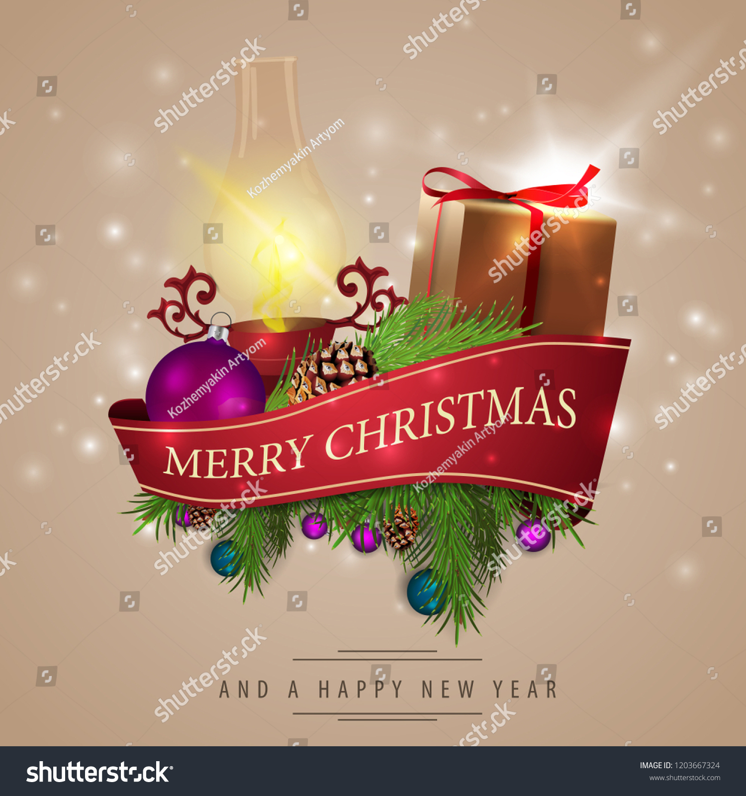Christmas Card Red Ribbon Christmas Decorations Stock Vector