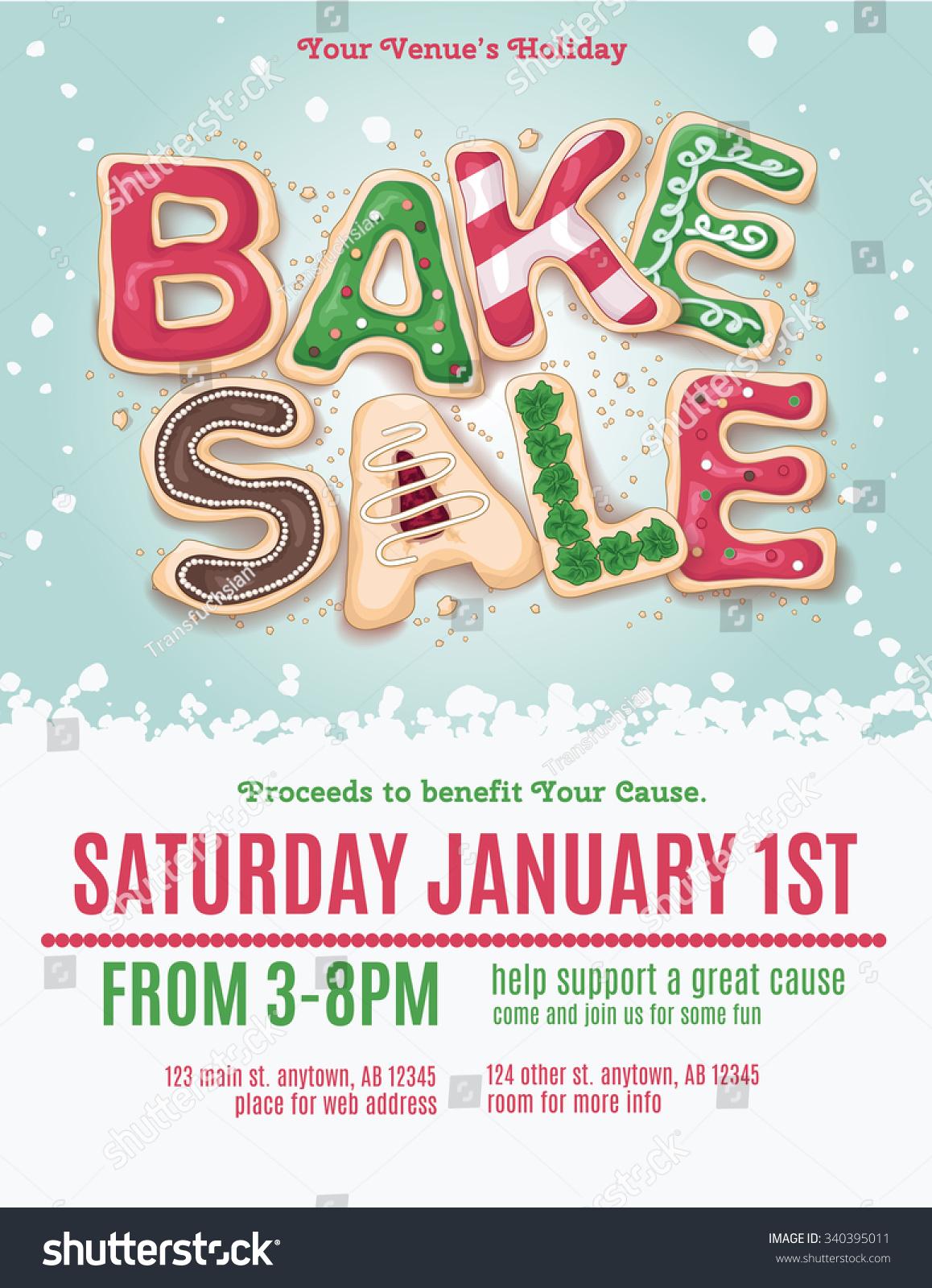 Christmas Holiday Bake Sale Flyer Template Stock Vector