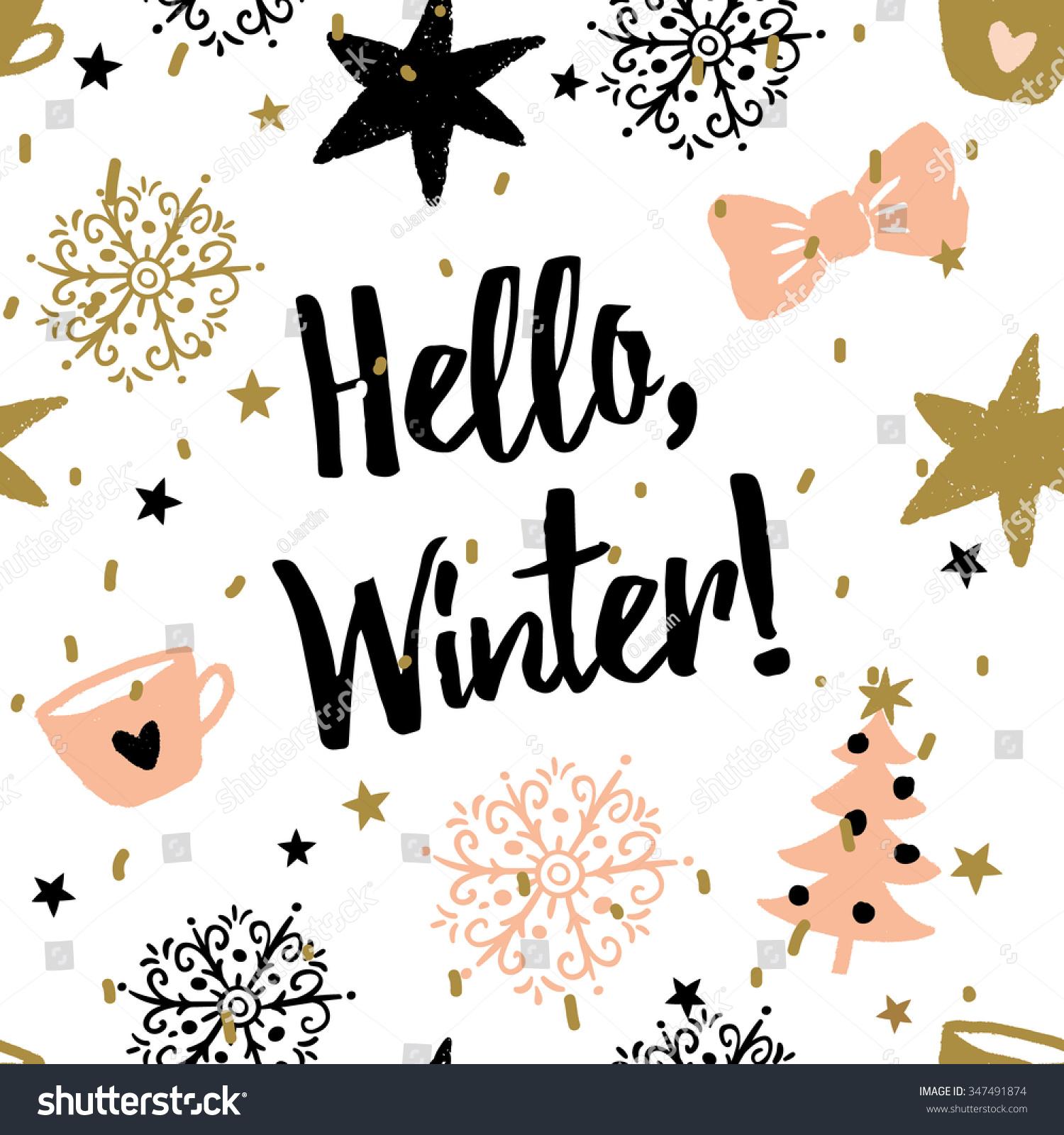Christmas Illustration Message Hello Winter Vector Stock