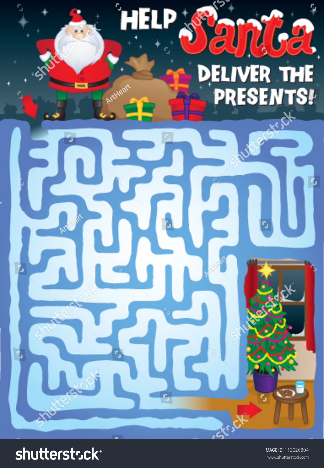 Christmas Maze For Kids Help Santa Find His Way Through