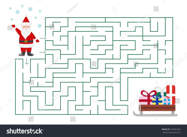 Christmas Maze Game Preschool School Kids Stock Vector