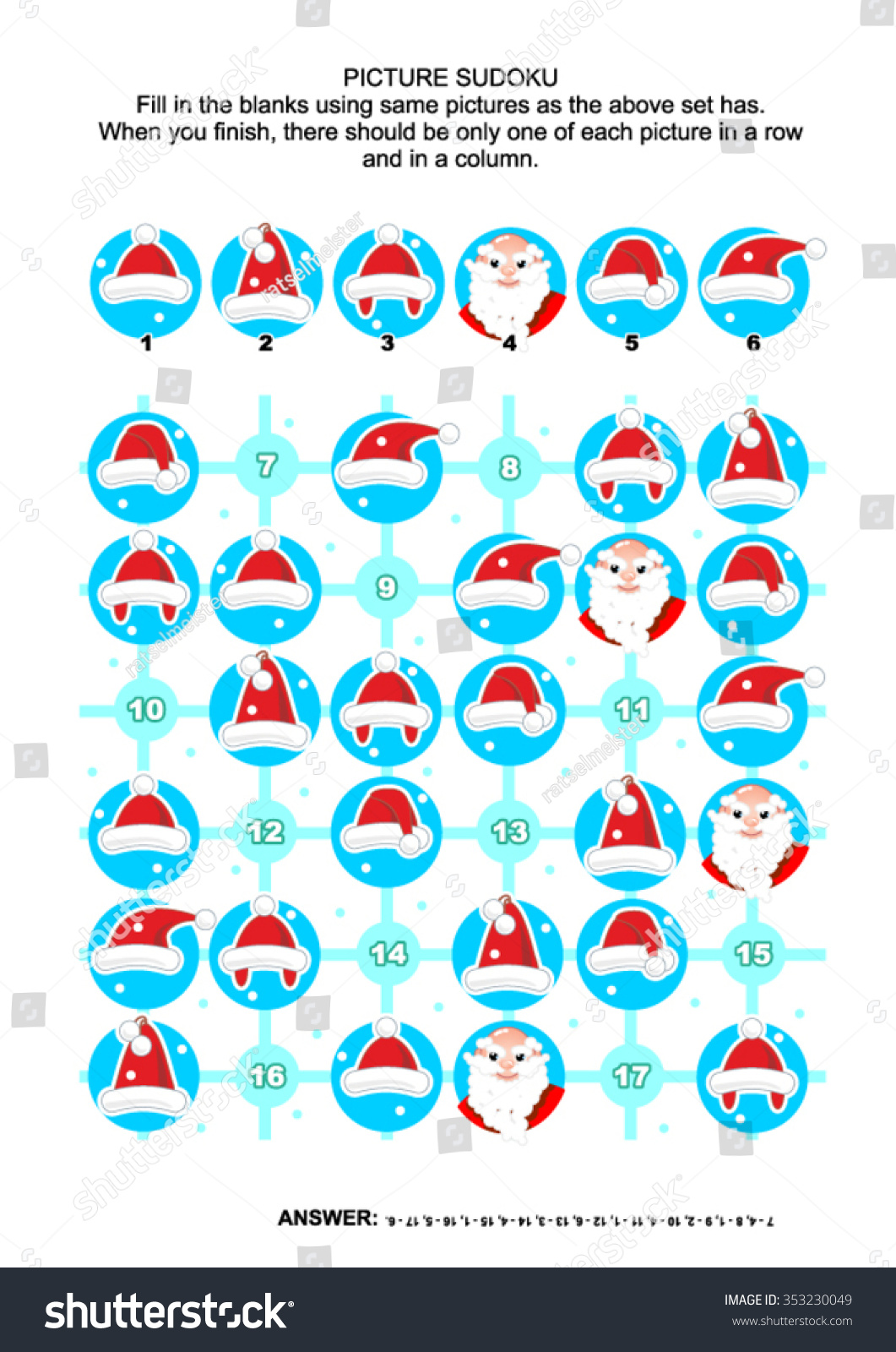 Christmas New Year Themed Picture Sudoku Stock Vector