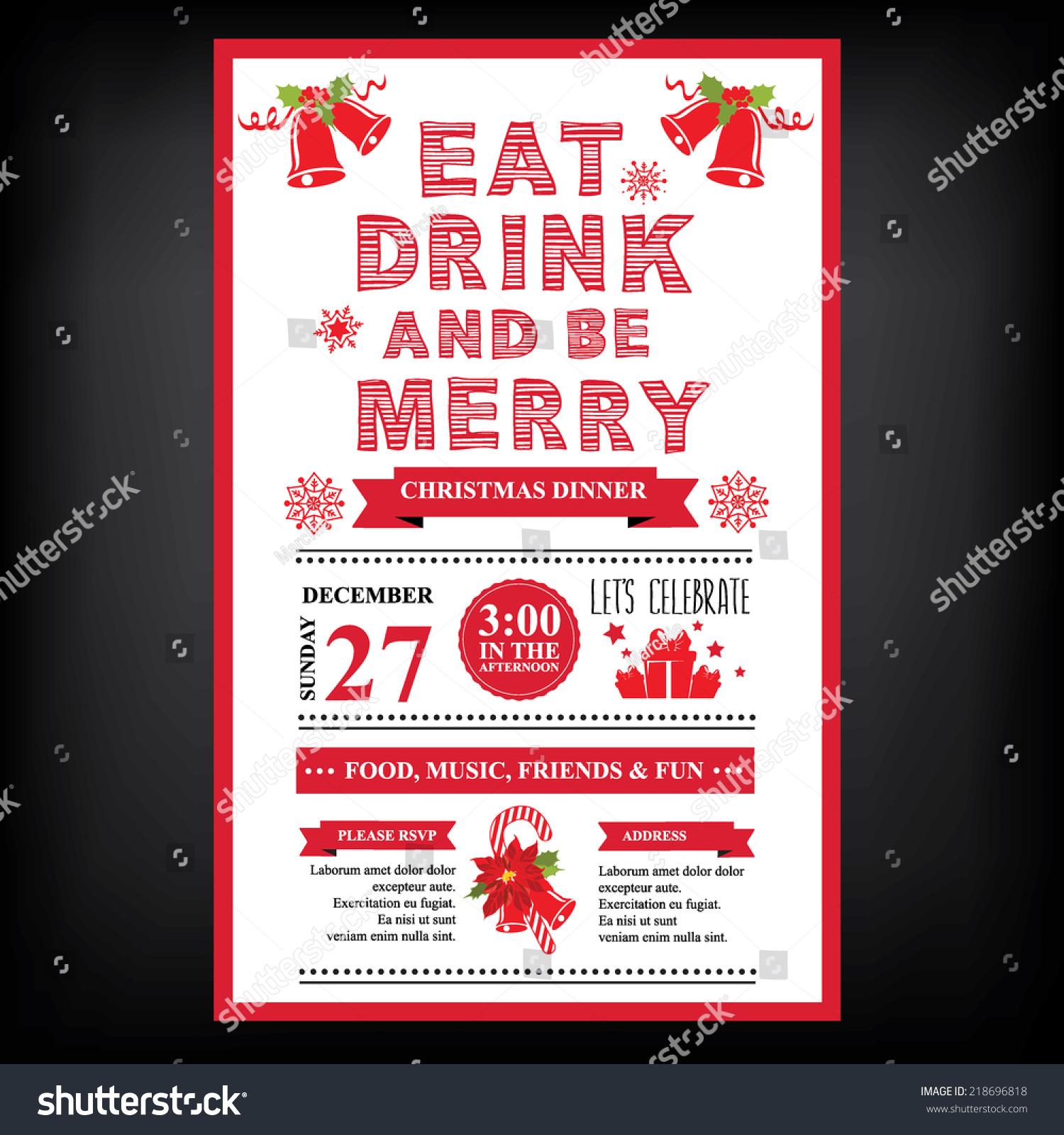 Christmas Restaurant Party Menu Invitation Stock Vector 218696818 Shutterstock