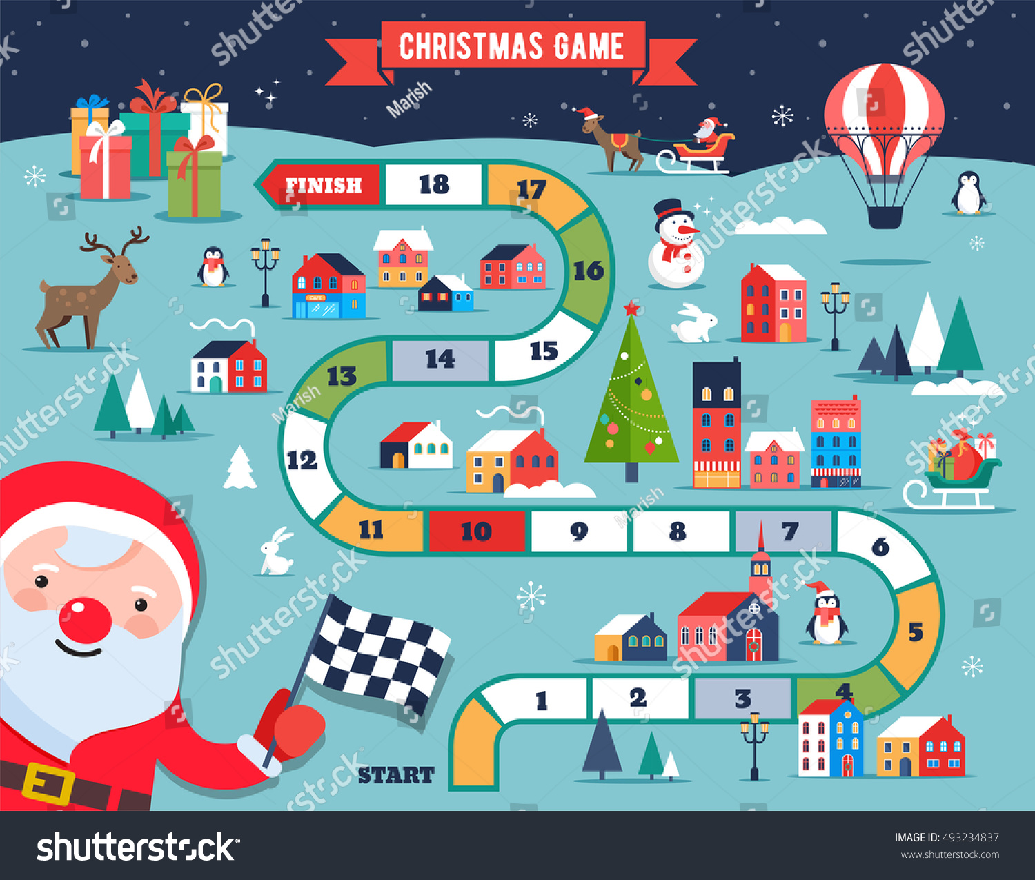 Christmas Village Map Winter Town Board Stock Vector