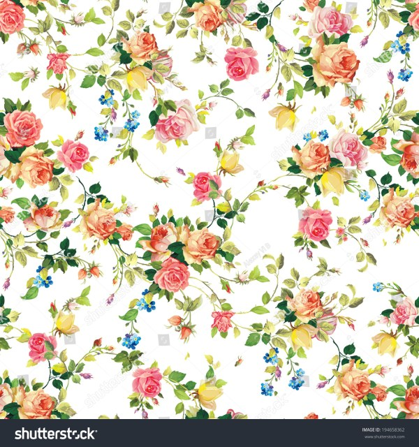 Classic Seamless Vintage Flower Pattern On Stock Vector