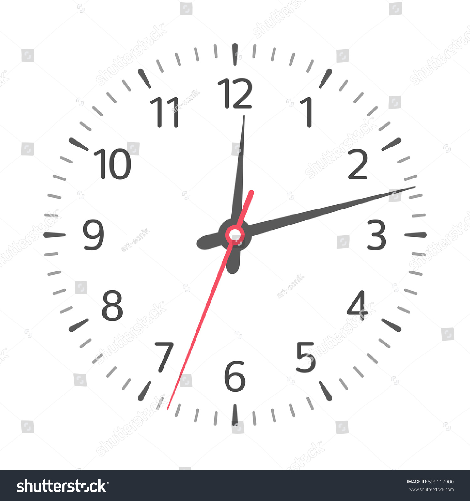 Clock Face Hour Minute Second Hands Stock Vector