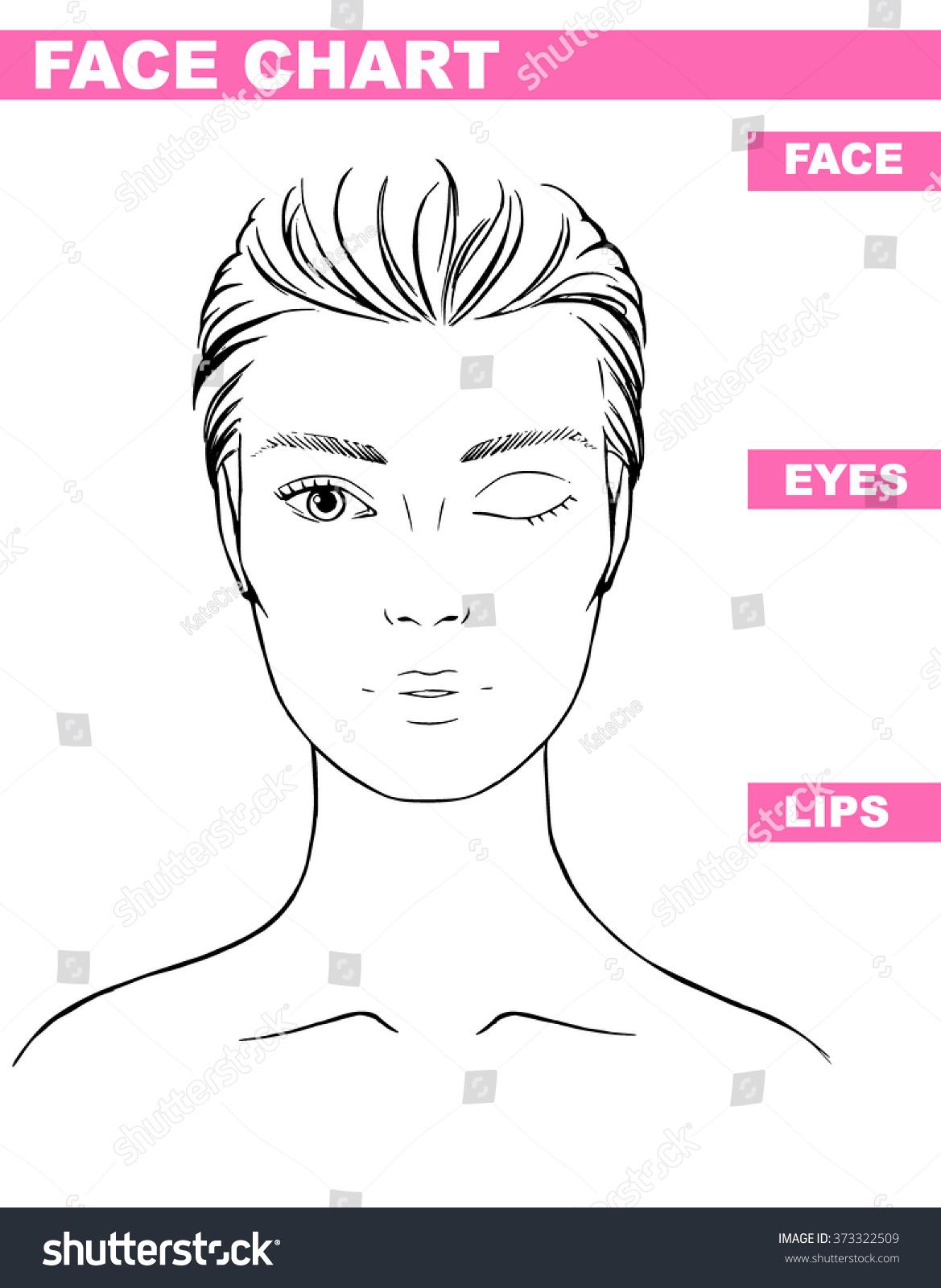 Close Woman Portrait Makeup Artist Blank Stock Vector