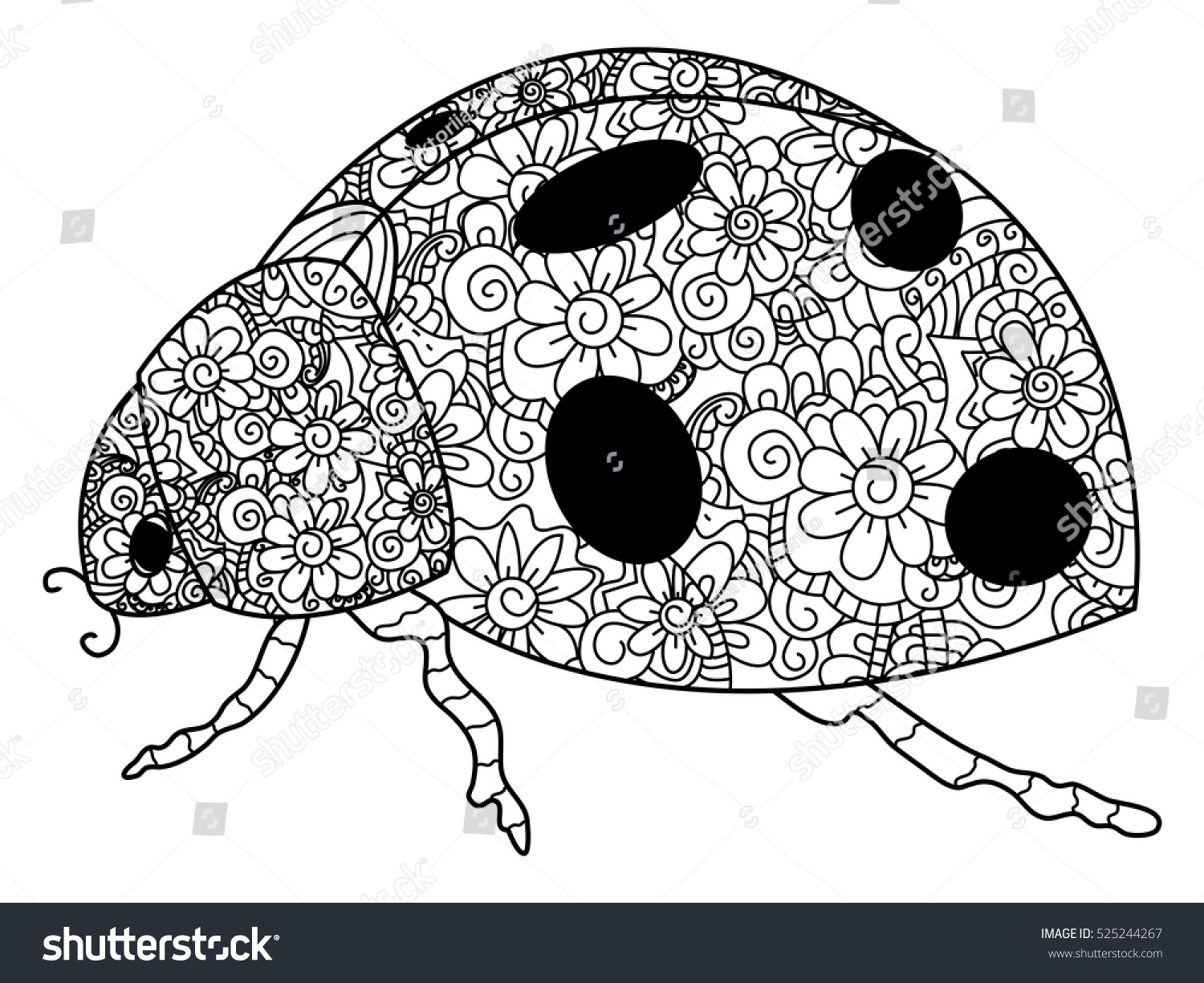 Coccinellidae Coloring Book Adults Vector Illustration Stock Vector