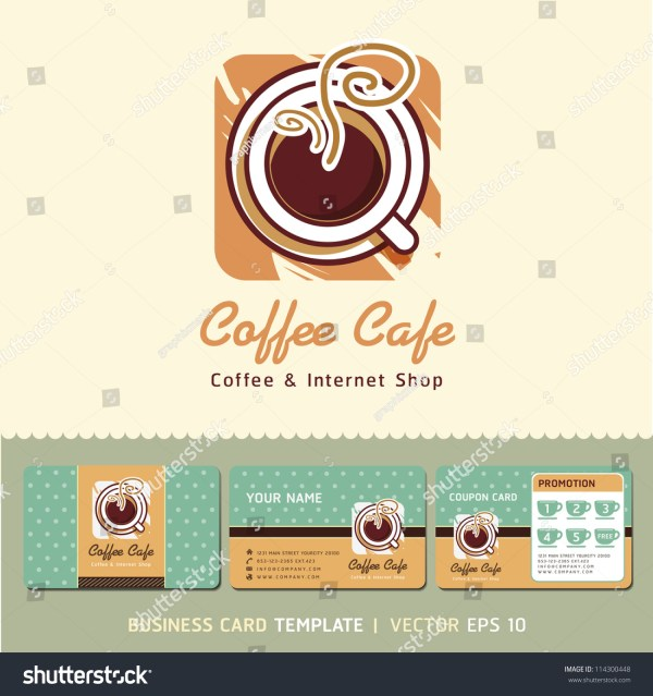 Coffee Cafe Icon Logo And Business Cards Design. Vector ...