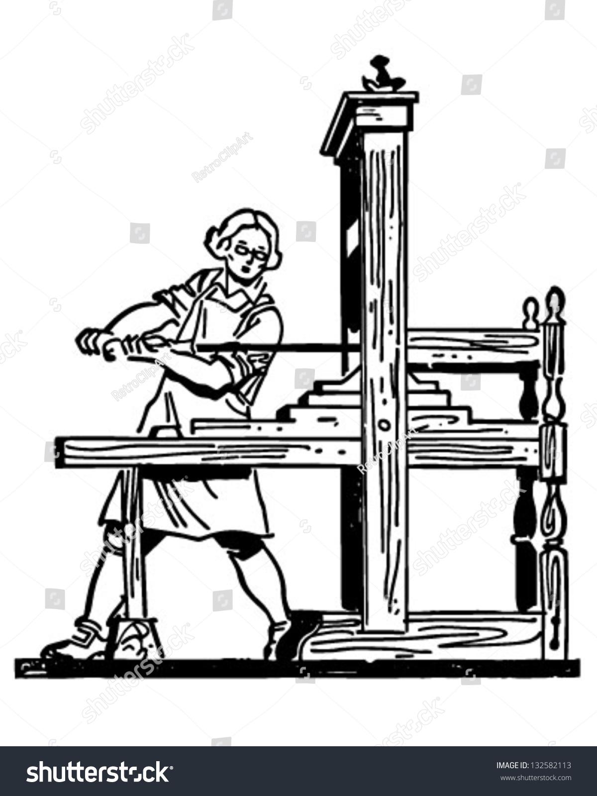 Colonial Printing Press Retro Clip Art Stock Vector