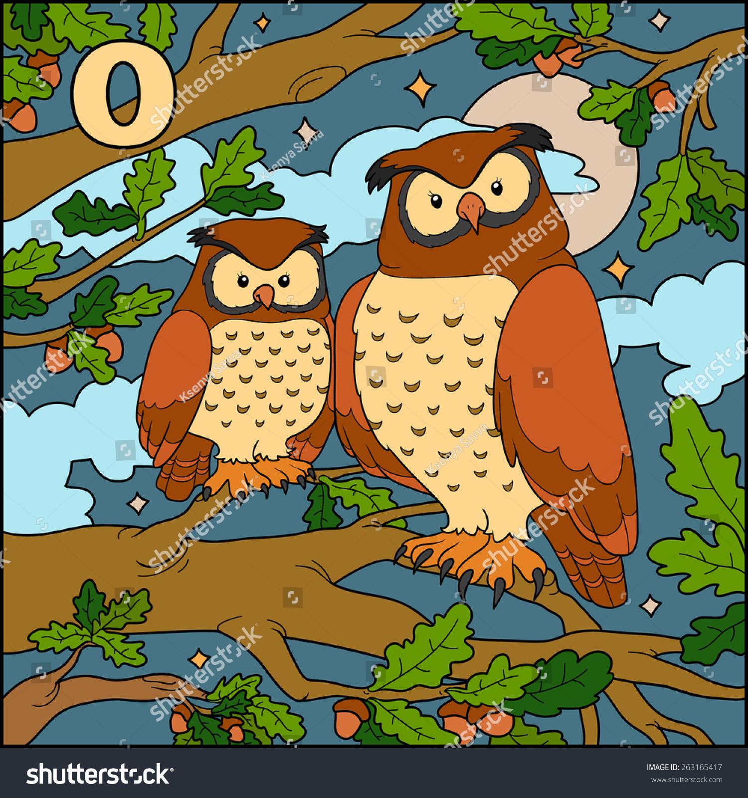 Color Alphabet Children Letter O Owl Stock Vector