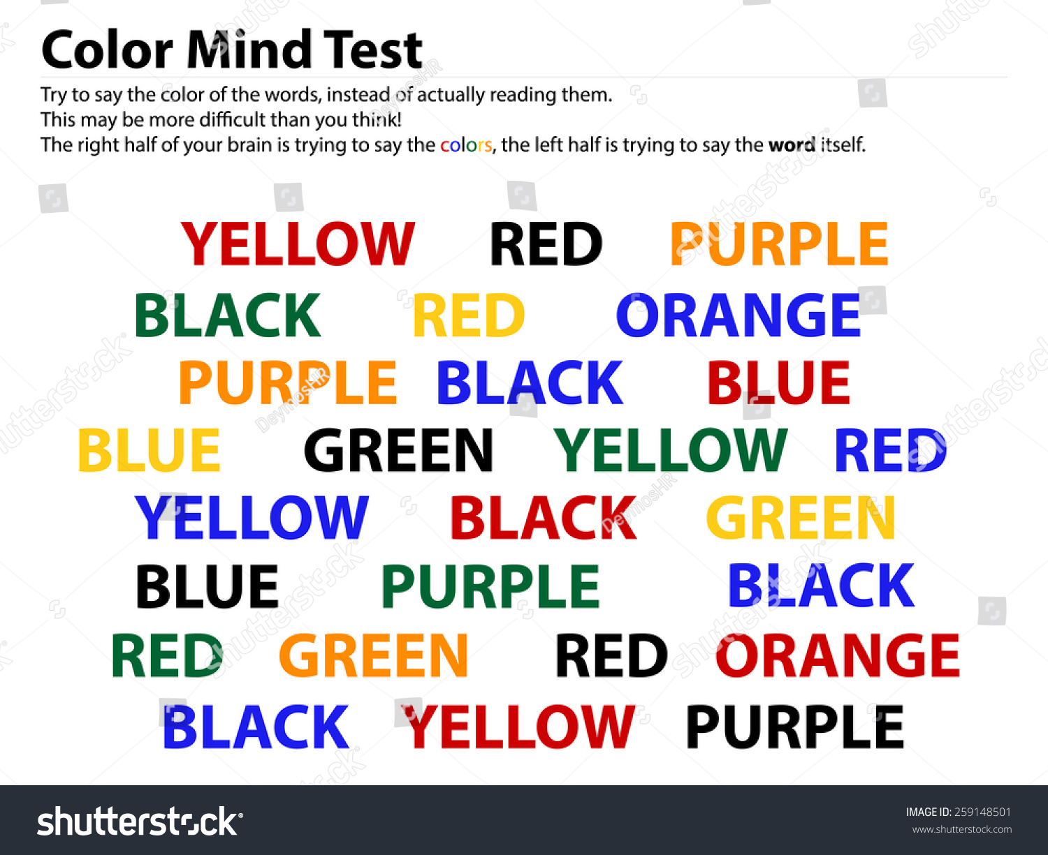 Color Mind Test Reading Words Is Easier Than Telling Their Color In This Test 2 Different