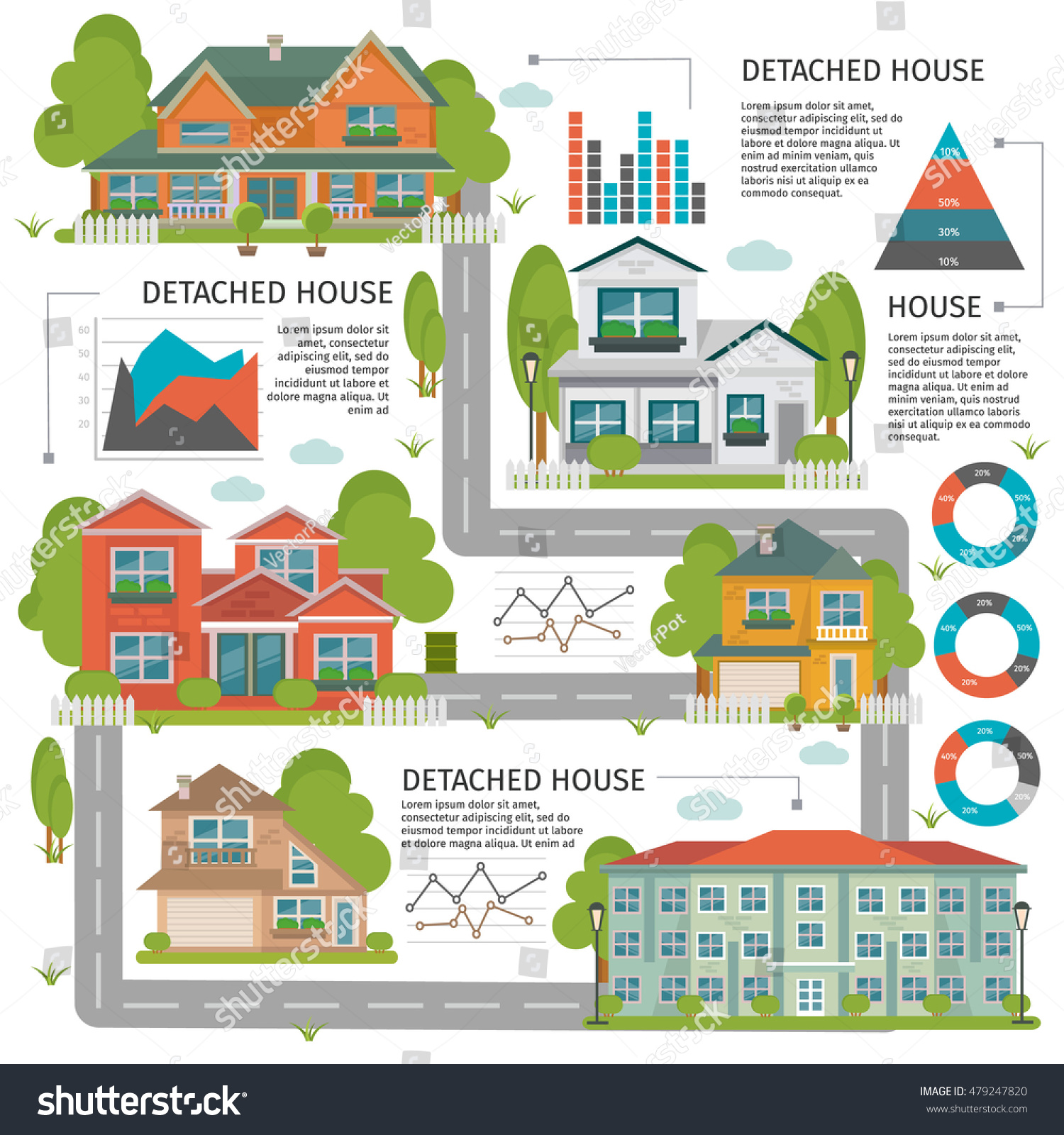 Colored Buildings Flat Infographics Detached House Stock