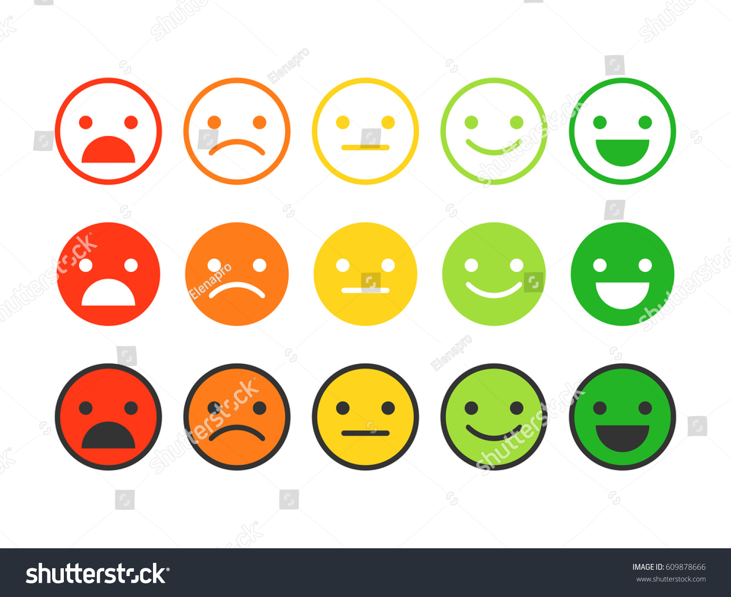 Colored Flat Icons Emoticonsdifferent Emotions Moods Stock