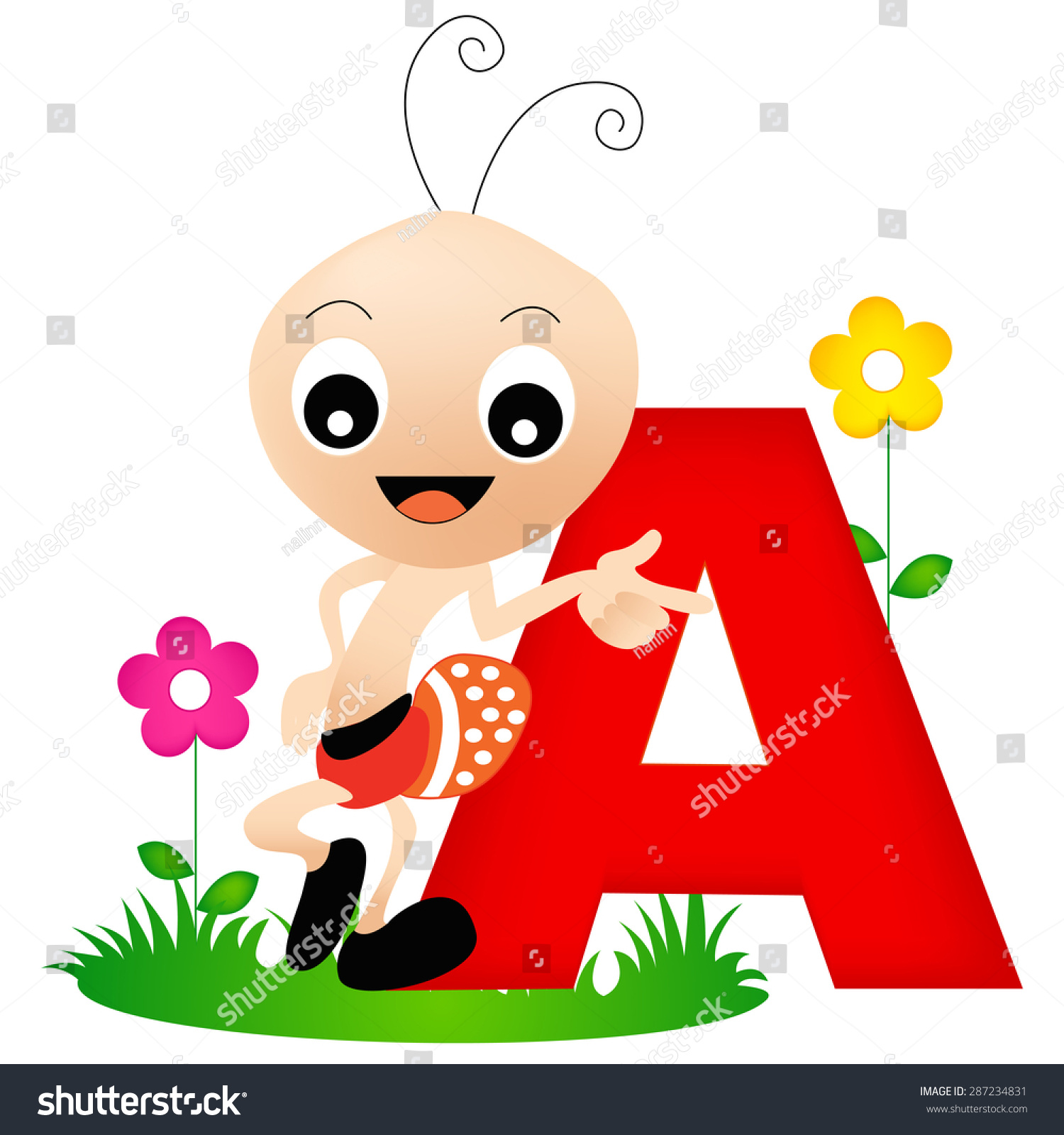 Colorful Animal Alphabet Letter Cute Ant Stock Vector