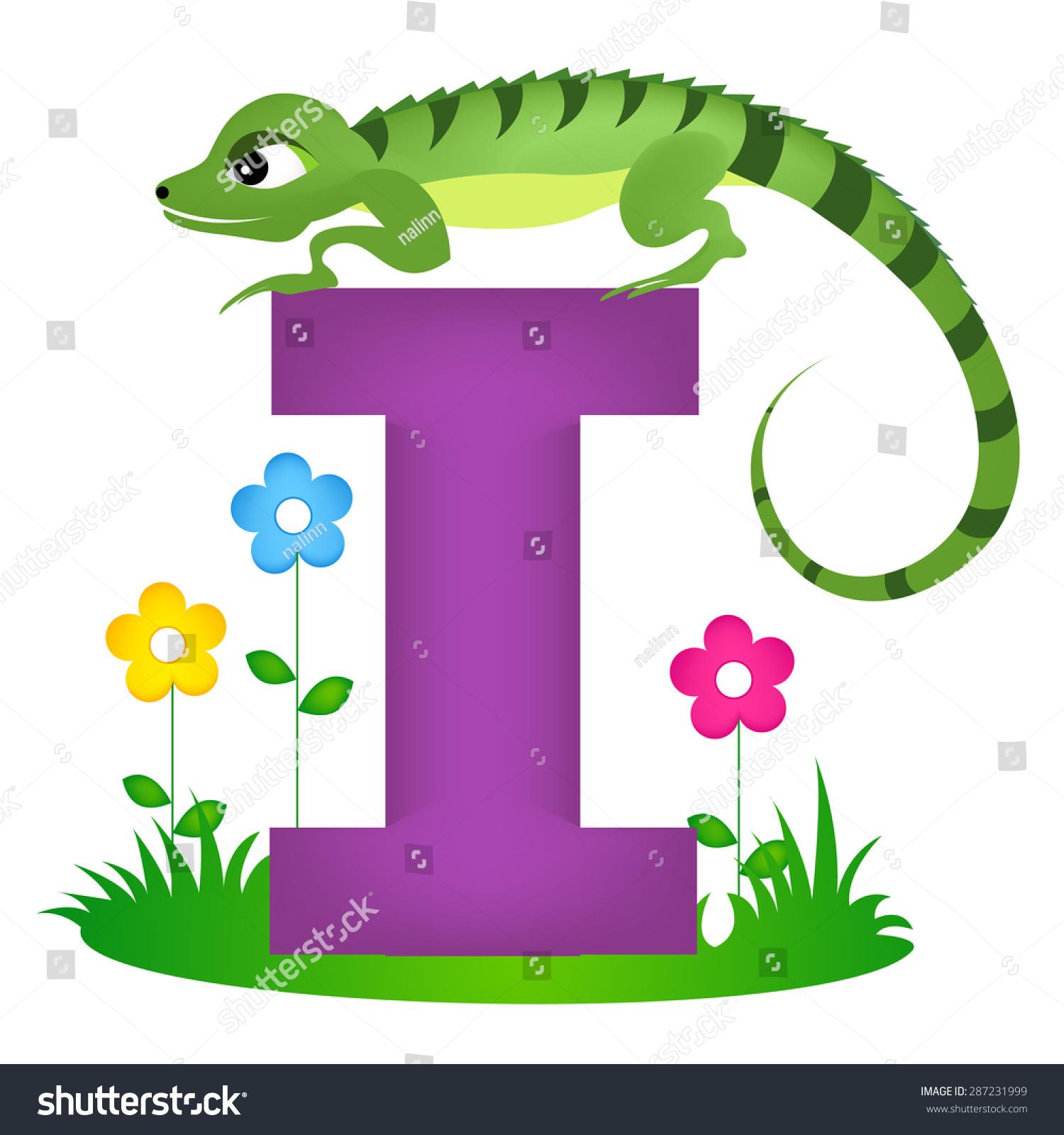 Colorful Animal Alphabet Letter Cute Iguana Stock Vector