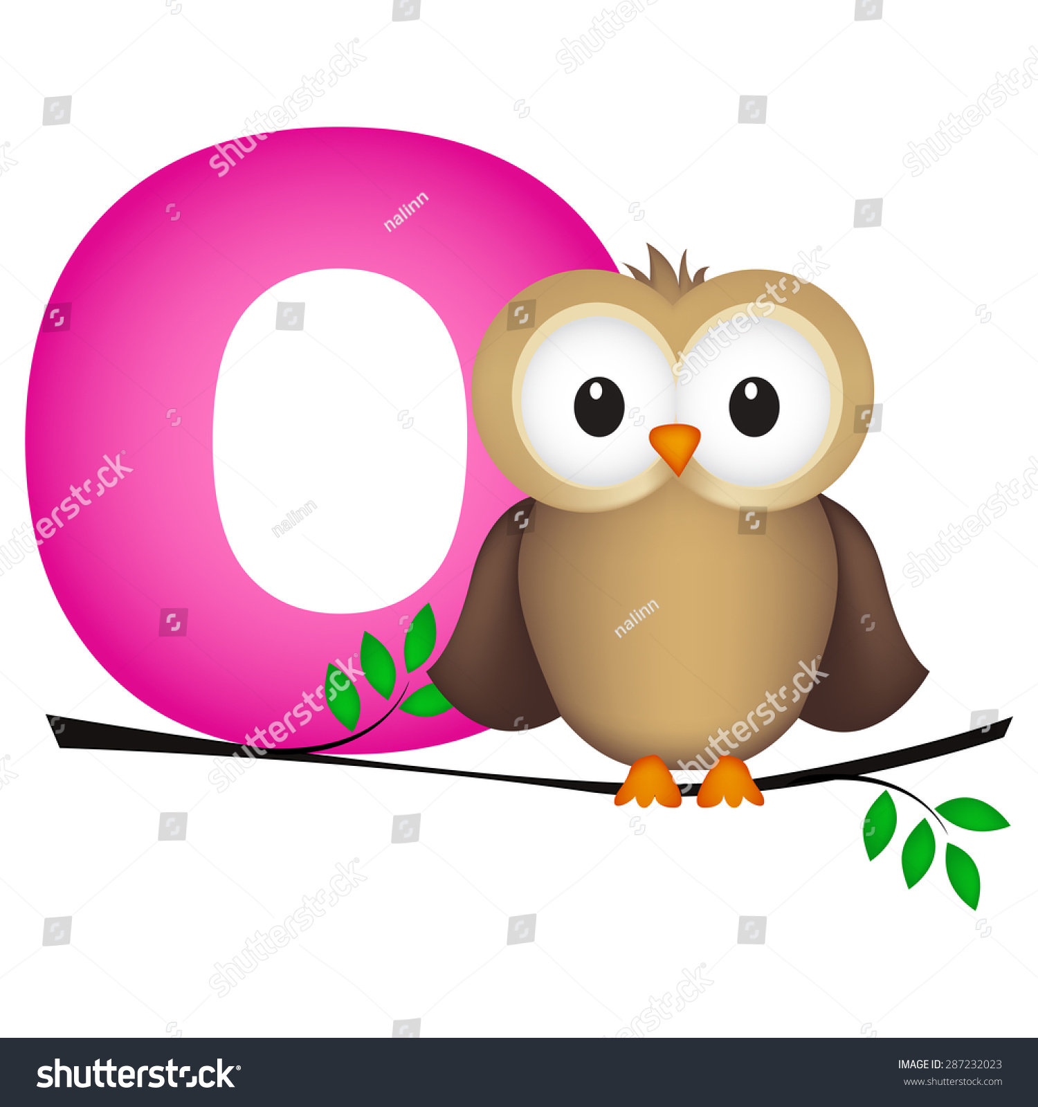Colorful Animal Alphabet Letter O Cute Stock Vector